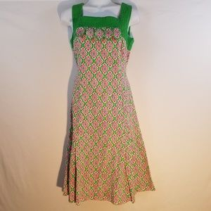 Dresses & Skirts - Vintage Unbranded Green Pink Pleated Fit N Flare